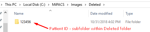 Location of Deleted Image in MiPACS Viewer
